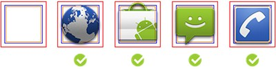 Android launch icons - size and positioning