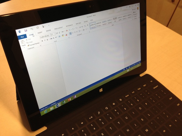Microsoft Surface RT in Office Word