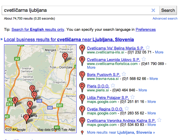 google local search results screenshot