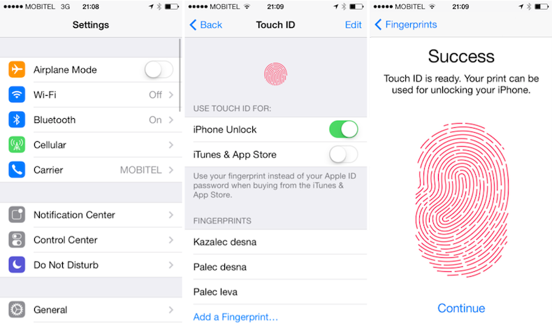 Touch ID na iPhone 5s