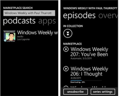 WP7 Mango - Podcast